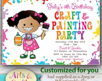 CUSTOMIZED Painting & Crafts Invitation, Cute Crafty Girl Invitation, Colorful Painting or scrapbook party.