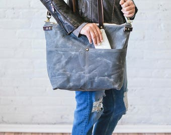 Waxed Canvas Sawyer Bag, Charcoal Gray, Waxed Canvas tote, waxed canvas computer bag, work bag, diaper bag, crossbody travel bag