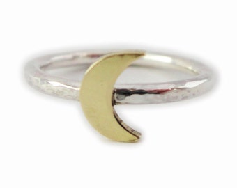 Crescent moon ring- Space Ring- Silver ring- Brass moon- Astronomy gifts- Stacking ring- Solid silver ring- Hammered ring- UK sellers only
