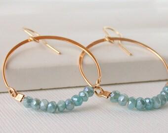 Mystic Amazonite Hoop Earrings. Hoop Gemstone Earrings. Amazonite Hoops.