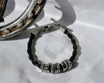 Silver charm braided horsehair bracelet