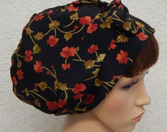 Black floral headscarf, women's full head covering, summer head scarf, handmade head wrap, Jewish tichel head wear, hair scarf bonnet