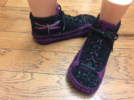 346 dragonfly dragonfly dragonfly shoe Crocheted 7 Womens tennis sneaker slippers house crochet sneakers amethyst slippers slippers shoes 9 Y7T87q
