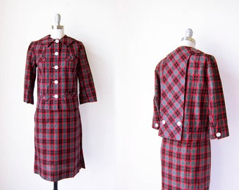 1960s vintage red gray grey plaid tartan button front blazer jacket skirt suit xs