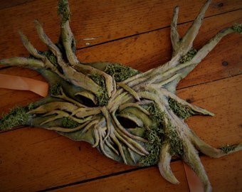 Tree man paper mache mask