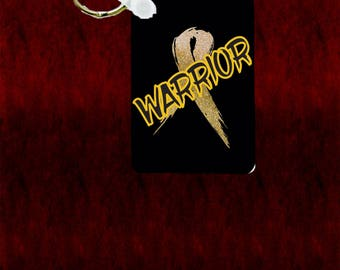 """Childhood Cancer Warrior with Gold Ribbon 1.6"""" x 2.25"""" key chain"""