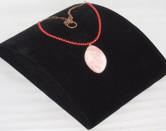 "Strawberry Jade Pendant Necklace with Pink Pearls ""Pink Sky"""