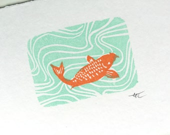 "Koi - Miniprint - 10x15cm/4x6""/A6 // Original Print, Mini Art, Handprinted"
