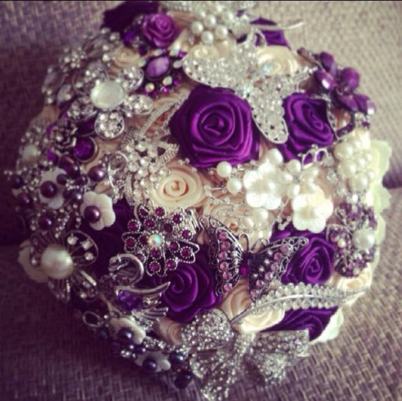 Items similar to Luxurious Wedding Bouquet in Royal Purple and Cream ...