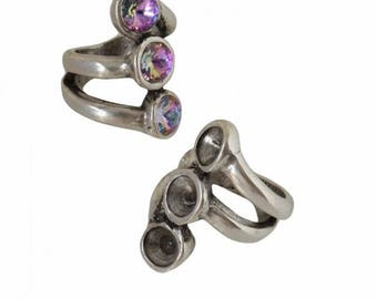 Ring holder for Swarovski® Rivoli SS39 - Non-adjustable (17. 75 mm) - old silver - BACABM17VAG0525