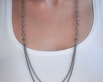Layered chain necklace with Swarovski Grey crystals- aNella Designs