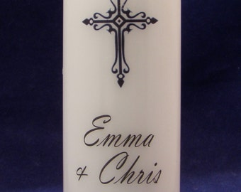Personalised Wedding Unity Candle Set with Cross Design