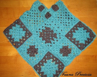 Women's Small Crocheted Poncho, Green and Gray, Granny Square Style. One of a Kind