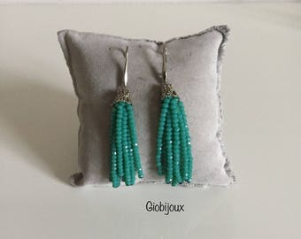 TASSEL EARRINGS turquoise tiffany - Crystal tassels earrings