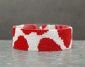 Beaded Bracelet, Seed Beads, Beaded Bracelet, Animal Print, Cow Print, Red Bracelet, Peyote Bracelet