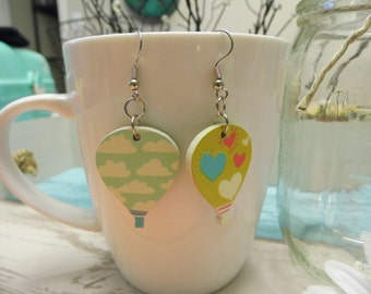 Wood Balloon Dangle Earrings