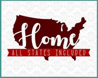 Home State Bundle Svg, State Home svg, State Bundle Svg, Bundled State svg, State Set Svgs, Cricut, Silhouette, Cutting Files, Bundles