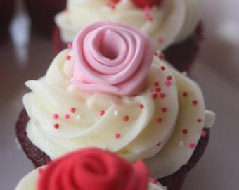12 Fondant cupcake toppers--large roses, rosettes