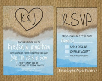 Destination Beach Wedding Invitation,Heart in the Sand with Initials,Sandy Beach,Blue Water,Customizable,Printed Invitations,Invitation Sets