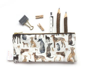Greyhound, Whippet, Lurcher, Dog Lover, Gift, Pouch, Pencil Case, Make Up Bag, Italian Greyhound, Purse, Small Bag, Toiletries, Cosmetic
