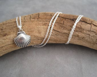 Scallop Shell Necklace - Silver Scallop - Small Fan Shell - Charm - Pendant -Ocean Charm - Minimalist Style