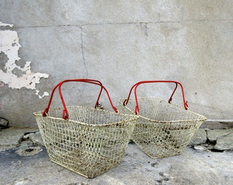 Pair of Rustic Vintage French Wire Baskets - Red & White