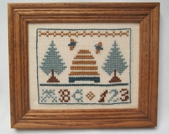 Mini Sampler Primitive Framed Cross Stitch, Bee Hive, Bees, Trees, A B C,  123 Early 2000's
