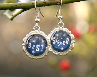 Best Sister Earrings, Blue antique silver earrings for best sister, Cabochon blue earrings with inscription, gift for sister