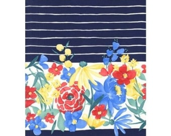 Blooming Border, Michael Miller,  floral stripe cotton quilting fabric in Navy