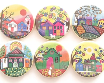 Magnets It Takes A Village Funky Houses Cute Fridge Magnets Decorative Neighborhood Magnets Refrigerator Houses Villages Magnets, 6/Set