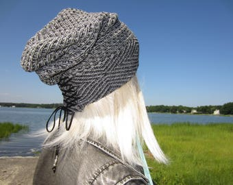 Vacationhouse Hats Bohemian Clothing Tribal Print Slouchy Beanie Black & Charcoal Gray Women's Cotton Knit Corset Lace Tie Top Beenies A1962