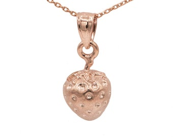 10k Rose Gold Strawberry Necklace