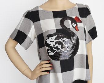 Swan Plaid Blouse | Sequins Blouse | Plaid Top | Appliqué Blouse | Designer Top | Designer Blouse