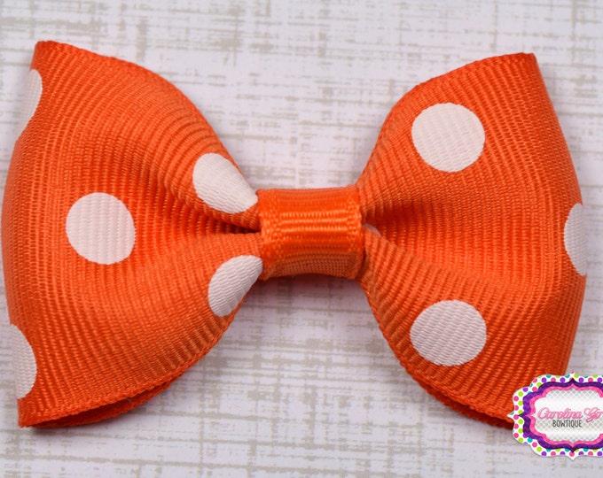 "Orange Polka Dots Tuxedo Bow ~ 2.5"" Hairbow ~ Small Hair Bow ~ Girls Barrette ~ Toddler Bow ~ Baby Hair Bow ~ Hair Clip ~ Girls Hair Bow"