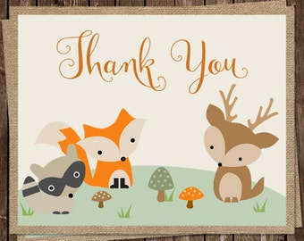 Forest Animals, Thank You Cards, Baby Shower, Birthday, Owl, Fox, Bunny, Burlap, Neutral, 20 Folding Notes, FREE Shipping, Woodland Friends
