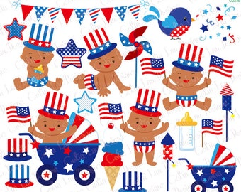 4th of July Baby Boy Clipart/ Independence Day Clipart, First Fourth of July / African American clip art