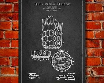 1916 Pool table Pocket Patent, Canvas Print,  Wall Art, Home Decor, Gift Idea