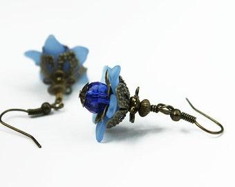 Amsterdam, Vintage Floral Inspired Earrings, Blue Lucite & Crystal