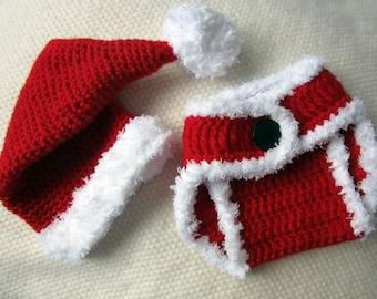 Crochet Santa Hat and Diaper Cover, baby santa outfit, baby santa hat, babys first Christmas outfit, baby Christmas hat, santa hat, baby hat