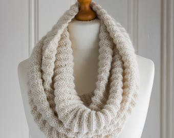 Reversible cowl or scarf in super soft pure baby alpaca yarn, hand knit in a pretty ribbed textural stitch that is completely reversible