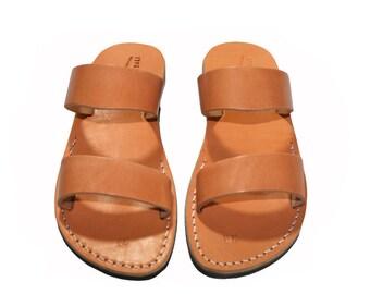 Caramel Bio Leather Sandals For Men & Women - Handmade Sandals, Leather Flip Flops, Jesus Sandals, Leather Flats, Caramel Leather Sandals