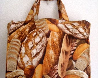 Artisian Bread Tote Bag, Crusty French Bread Farmers Market TIGHT 'n' TIDY Tote Bag, Reusable Shopping Bag, Compact Folding Tote, Brown