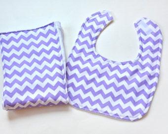 Baby Gift Baby Girl Bib Burp Cloth Gift Set, Baby Shower, Lavender, Burpcloths, Cloth Diaper, Baby Items Made From Chevron Fabric