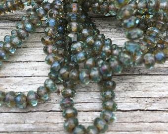 5x3 aqua and bronze rondelles, czech glass faceted rondelles, aqua with bronze luster