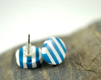 Blue and White Striped High Gloss Stud Earrings