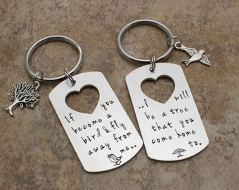 Mother Child Keychain Set | Hand Stamped Quote | Mother Son Set | Mother Daughter Set | Bird Tree | Graduation Gift | Mother Son Gift Set