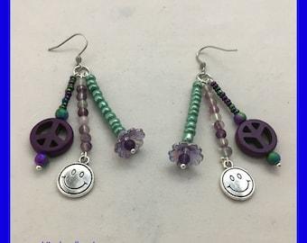 Peace Sign Earrings / Happy Face Earrings / Purple Peace Sign / Hippie Earrings / Purple and Green Beaded Earrings / Unique gift ideas