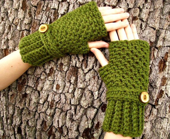 Crocheted Fingerless Gloves Mittens - Olive Green Fingerless Gloves - Green Mittens Green Gloves Womens Accessories Fall Fashion