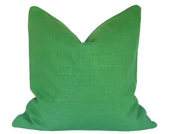 Kelly Green Pillow Cover, Custom Pillow Cover, Linen Pillow Cover With Zipper, Throw Pillow Cover, Triple Stitched, Multiple Sizes
