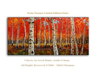 Birch Forest in Red Art on canvas  limited edition Giclee PRINT Home interior  Decor trees in red autumn colorful